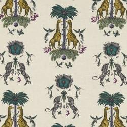 Tissu Creatura lin jaune -...